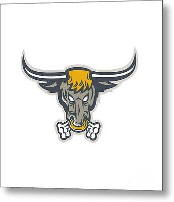 Texas Longhorn Bull Head Front Metal Print by Aloysius Patrimonio