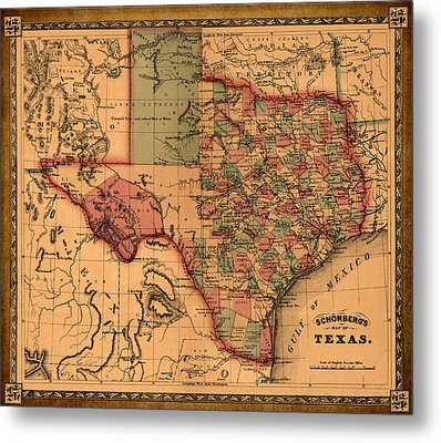 Texas Map Art - Vintage Antique Map Of Texas Metal Print by World Art Prints And Designs