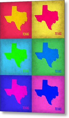 Texas Pop Art Map 1 Metal Print by Naxart Studio