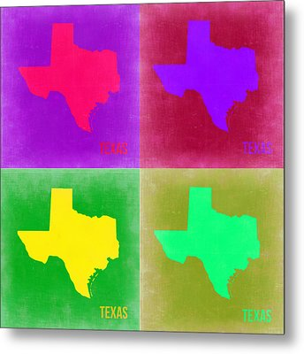 Texas Pop Art Map 2 Metal Print by Naxart Studio