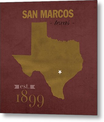 Texas State University Bobcats San Marcos College Town State Map Pillow Metal Print by Design Turnpike
