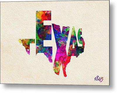 Texas Typographic Watercolor Flag Metal Print by Ayse Deniz
