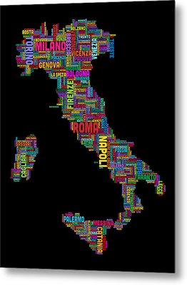 Text Map Of Italy Map Metal Print by Michael Tompsett