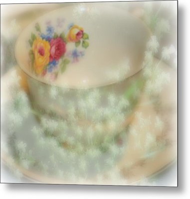 Textured Tea Cup Metal Print by Barbara S Nickerson