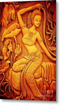 Thai Style Art Carving Wood Thailand. Metal Print by Jeng Suntorn niamwhan