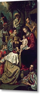 The Adoration Of The Magi, 1620 Oil On Canvas Metal Print by Luis Tristan de Escamilla