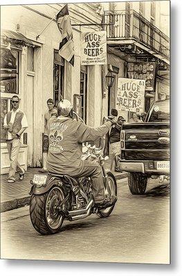 The American Way - Harleys Pickups And Huge Ass Beers - Sepia Metal Print by Steve Harrington