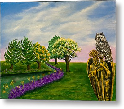 The Angel And The Owl Metal Print by Susan Culver
