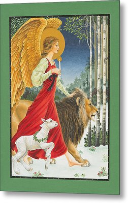 The Angel The Lion And The Lamb Metal Print by Lynn Bywaters