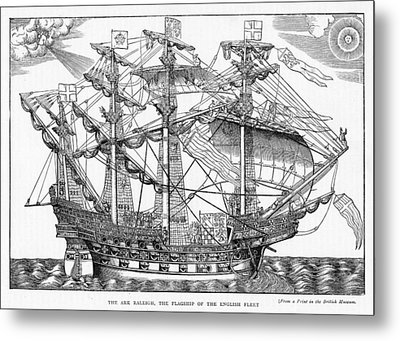The Ark Raleigh The Flagship Of The English Fleet From Leisure Hour Metal Print by English School