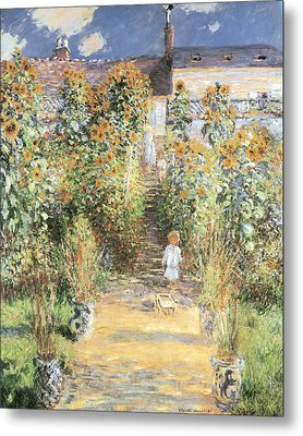 The Artist's Garden At Vetheuil Metal Print by Claude Monet
