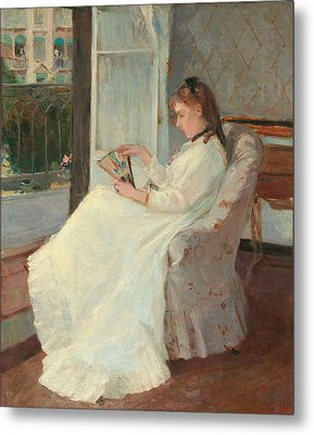 The Artist's Sister At A Window Metal Print by Berthe Morisot