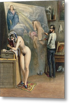 The Artists Wife Metal Print by French School