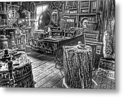 The Back Room Black And White Metal Print by Ken Smith