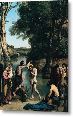 The Baptism Of Christ Metal Print by Jean Baptiste Camille Corot