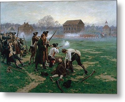 The Battle Of Lexington, 19th April 1775 Metal Print by William Barnes Wollen