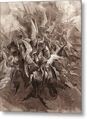 The Battle Of The Angels Metal Print by Gustave Dore