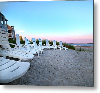 The Beach Chairs Metal Print by Betsy C Knapp