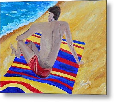 The Beach Towel Metal Print by Donna Blackhall