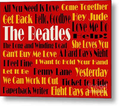 The Beatles 20 Classic Rock Songs 2 Metal Print by Andee Design