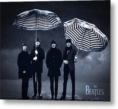 The Beatles In The Rain Metal Print by Aged Pixel