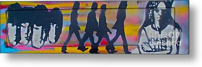 The Beatles Long Wood Metal Print by Tony B Conscious
