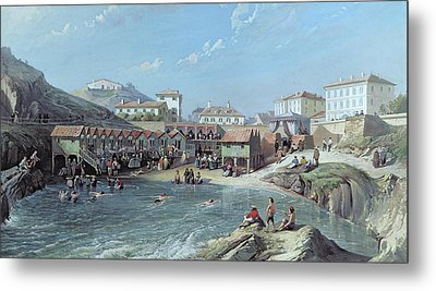 The Beginning Of Sea Swimming In The Old Port Of Biarritz  Metal Print by Jean Jacques Alban de Lesgallery