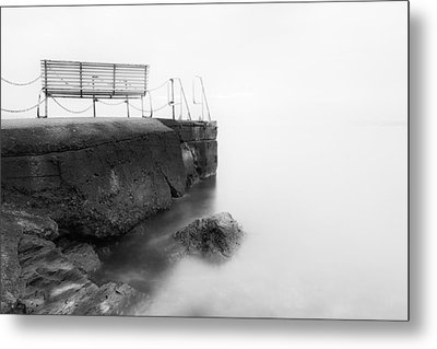 The Bench And The Fog Metal Print by Erik Brede