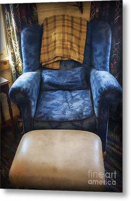 The Big Blue Chair - Oil Metal Print by Edward Fielding
