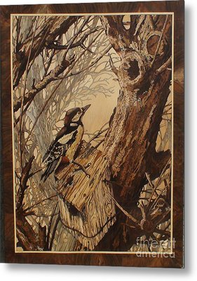 The Bird And Tree Marquetry Wood Work Metal Print by Persian Art