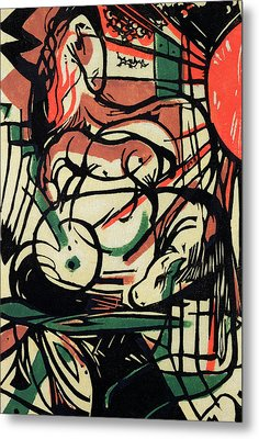 The Birth Of The Horse Metal Print by Franz Marc