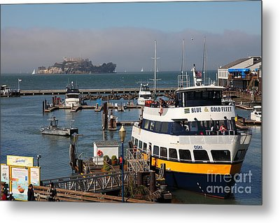The Blue And Gold Fleet Ferry Boat At Pier 39 San Francisco California 5d26043 Metal Print by Wingsdomain Art and Photography