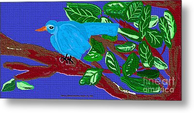 The Blue Bird Metal Print by Sherry  Hatcher