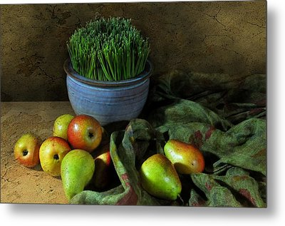 The Blue Clay Pot Metal Print by Diana Angstadt