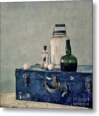 The Blue Suitcase Metal Print by Priska Wettstein