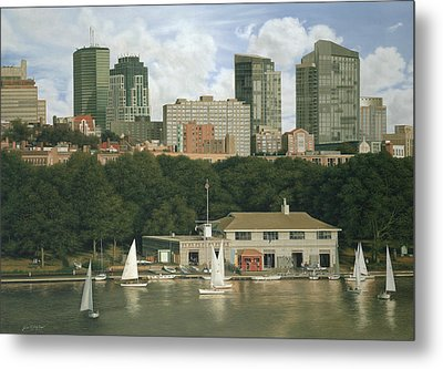 The Boathouse - Charles River Boston Metal Print by Julia O'Malley-Keyes