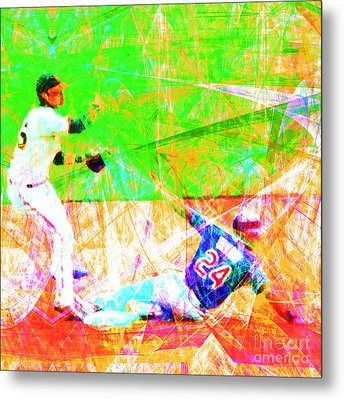 The Boys Of Summer 5d28208 The Double Play Square Metal Print by Wingsdomain Art and Photography