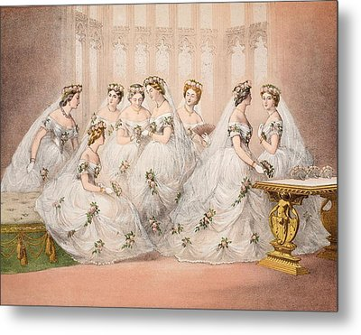 The Bridesmaids, 10th March, 1863 - Marriage Of Edward Vii And Alexandra Of Denmark Metal Print by English School
