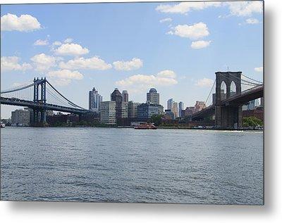 The Brooklyn And Manhattan Bridges Metal Print by Bill Cannon