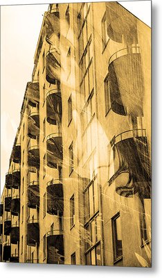 The Building And The Mystery Woman Metal Print by Toppart Sweden