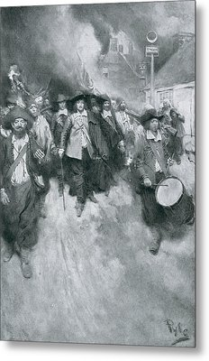 The Burning Of Jamestown, 1676, Illustration From Colonies And Nation By Woodrow Wilson, Pub Metal Print by Howard Pyle