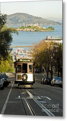 The Cable Car And Alcatraz Metal Print by Micah May