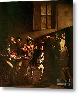The Calling Of St Matthew Metal Print by Michelangelo Merisi o Amerighi da Caravaggio