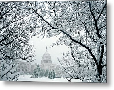 The Capitol In Snow Metal Print by Joe  Connors