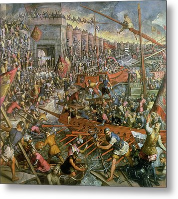 The Capture Of Constantinople In 1204 Metal Print by Jacopo Robusti Tintoretto