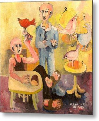 The Cardinal Sings Metal Print by Moshe BenReuven