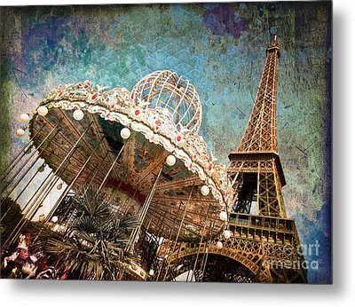 The Carrousel Of The Eiffel Tower Metal Print by Delphimages Photo Creations