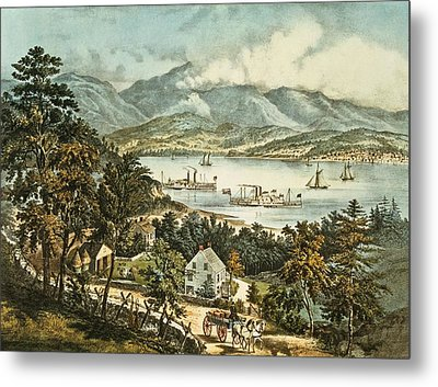The Catskill Mountains From The Eastern Shore Of The Hudson Metal Print by Currier and Ives