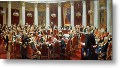 The Ceremonial Sitting Of The State Council 7th May 1901 Metal Print by Ilya Efimovich Repin