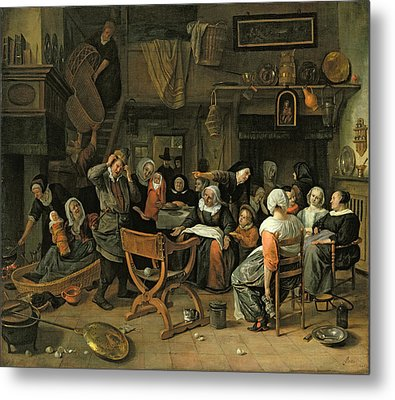 The Christening Feast, 1668 Oil On Canvas Metal Print by Jan Havicksz. Steen